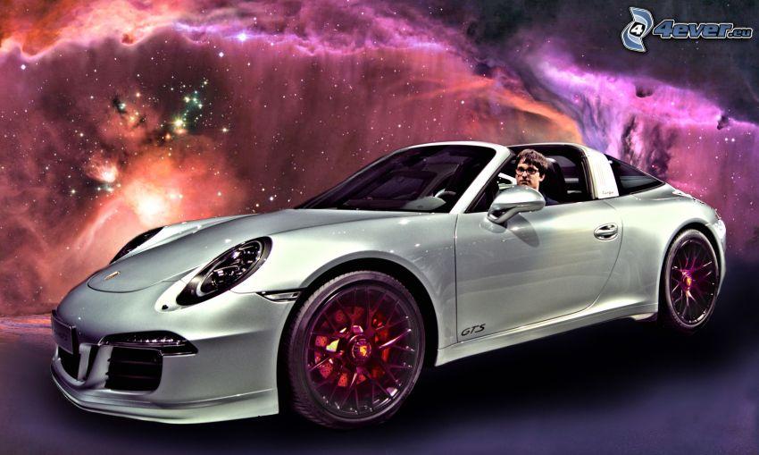 Porsche 911, convertible, nebulae
