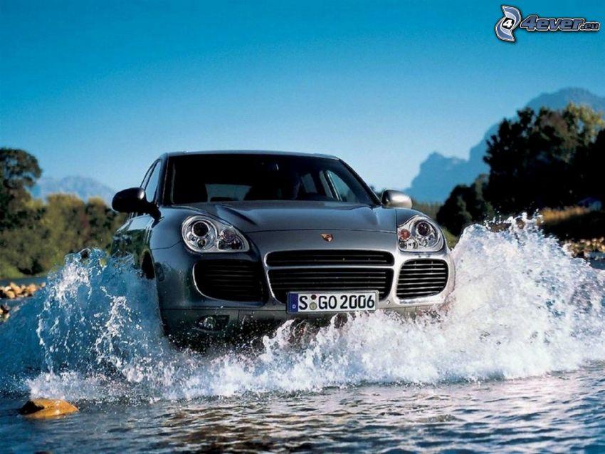 Porsche Cayenne, SUV, water, splash