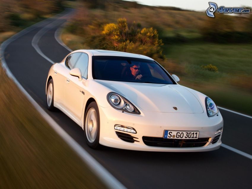 Porsche Panamera, road, speed