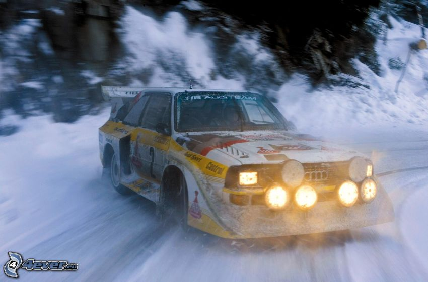 Audi Quattro, rally, drifting, snow