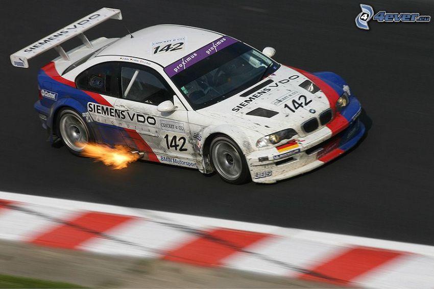 BMW M3 GTR, race, fire, racing circuit