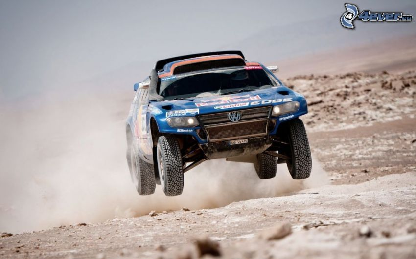 Dakar, off-road car, jump, dust