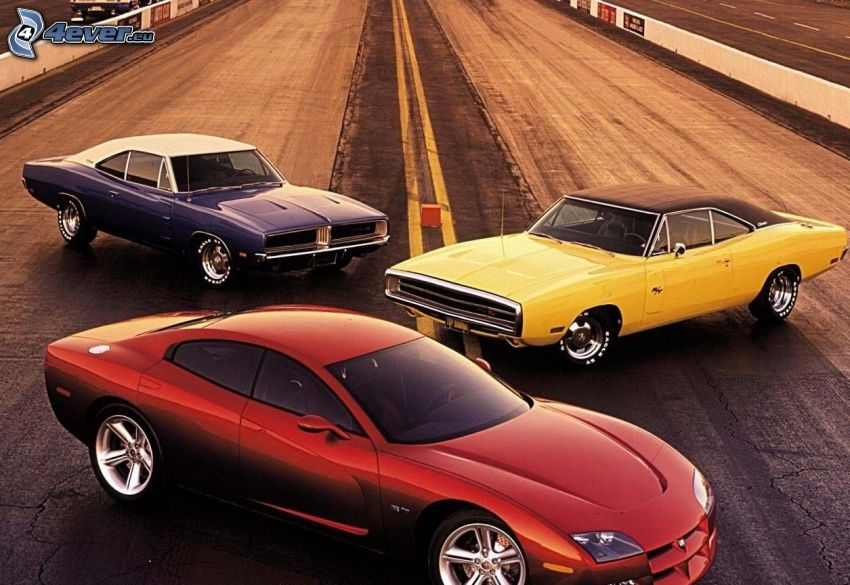 Dodge Charger, oldtimers, racing circuit