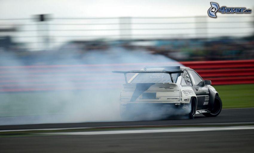 drifting, racing car, smoke