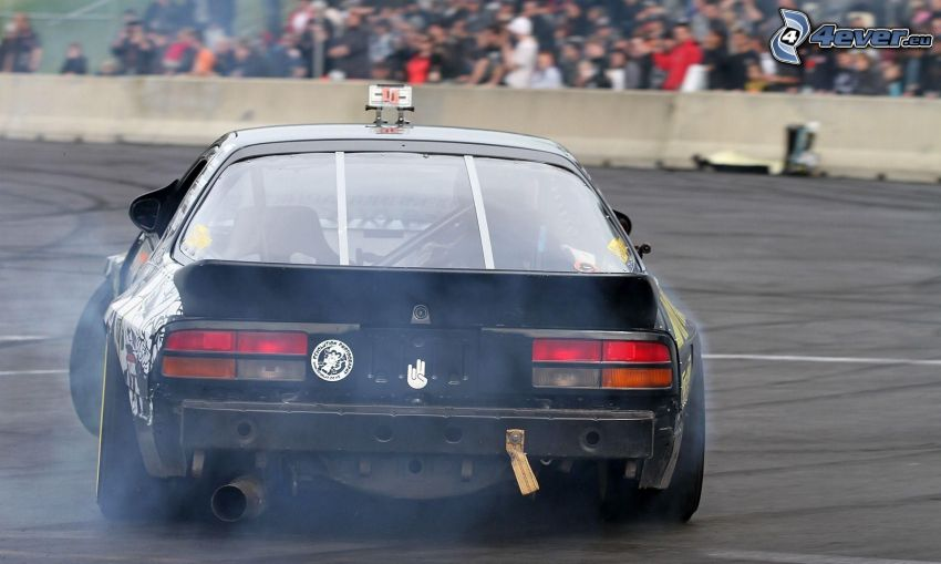 drifting, smoke, spectators