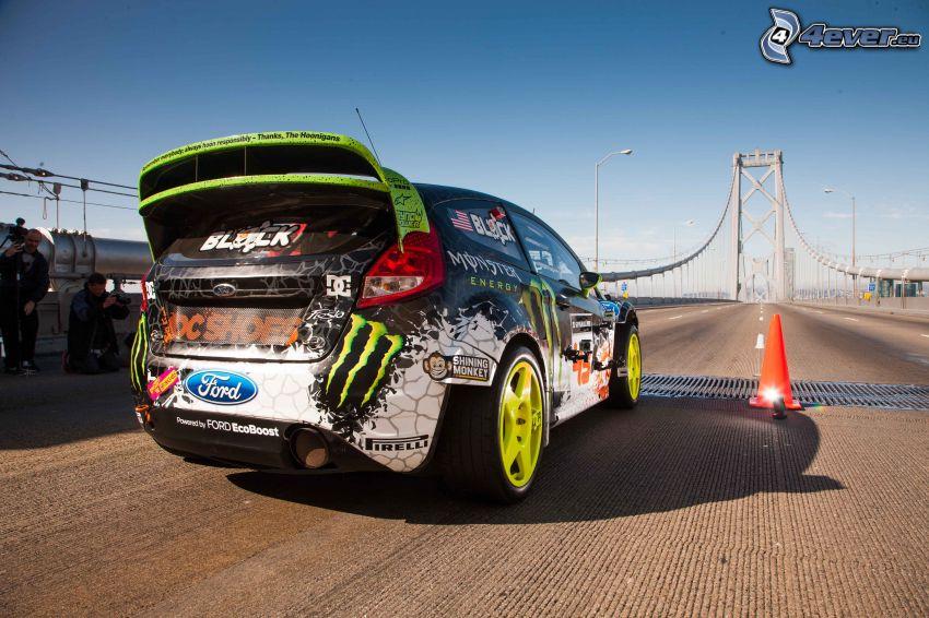 Ford, racing car, bridge