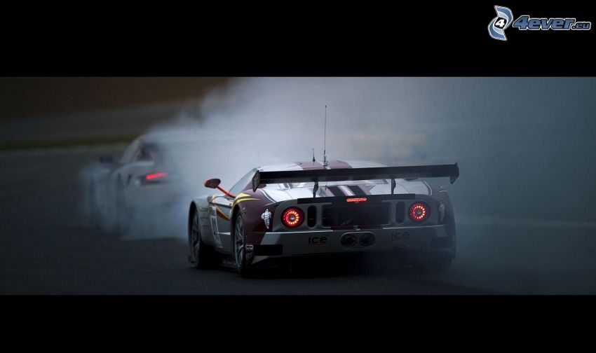 Ford GT40, racing car, smoke