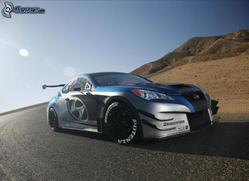 Hyundai Genesis, racing car, road