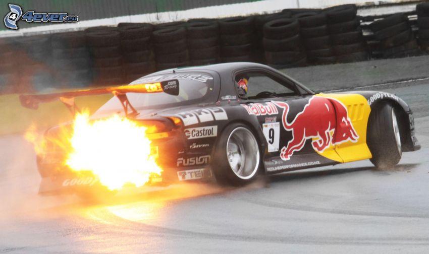 Mazda RX7, drifting, fire