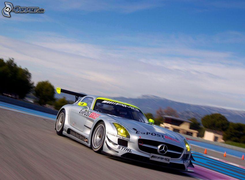Mercedes-Benz SLS AMG, racing circuit, speed