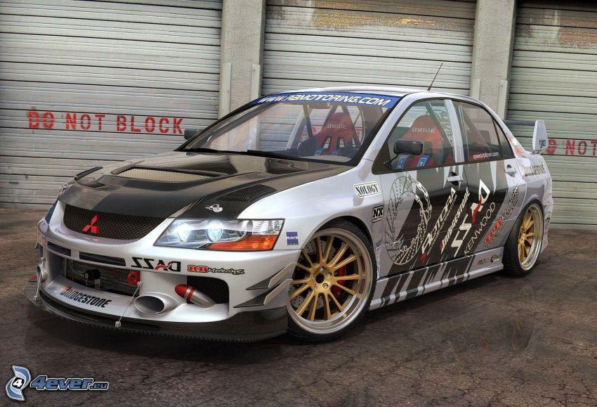 Mitsubishi Lancer Evolution, racing car, garage