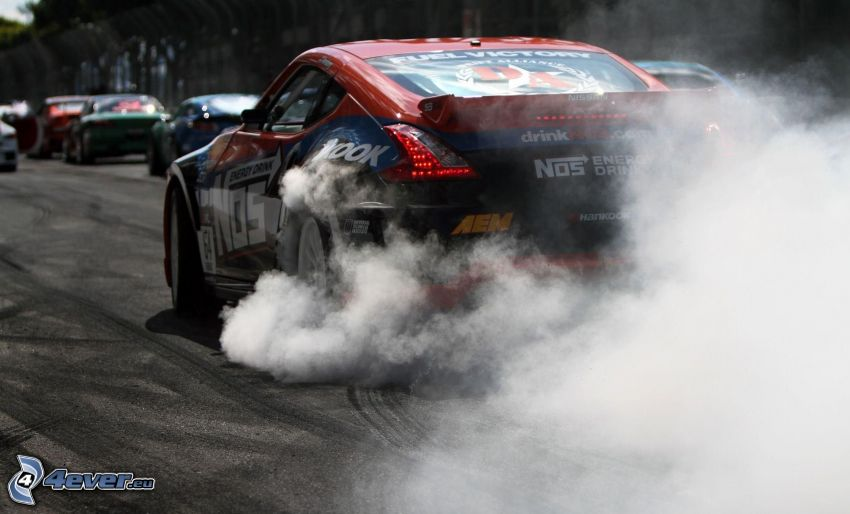 Nissan 370Z, racing car, smoke