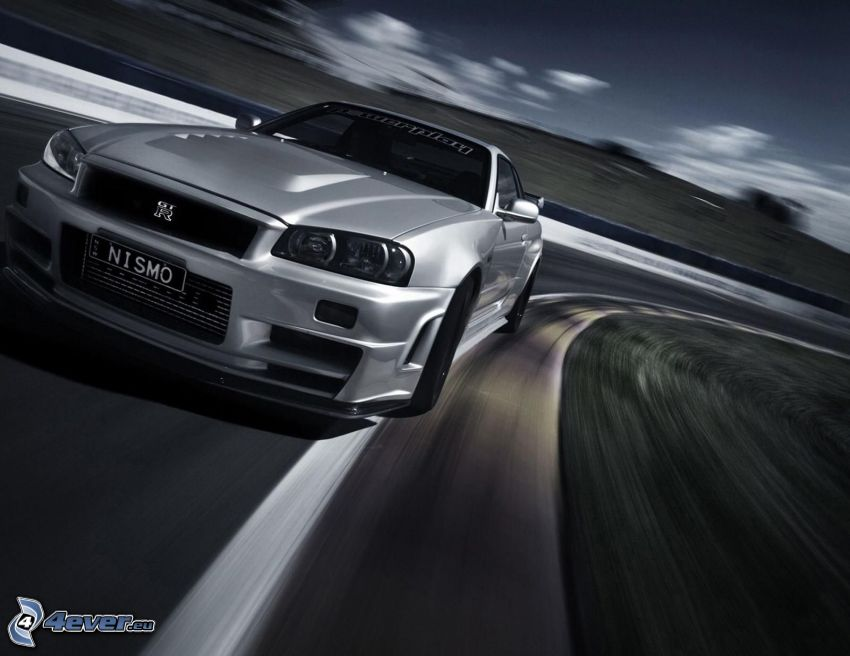 Nissan Skyline GT-R, speed, racing circuit, black and white