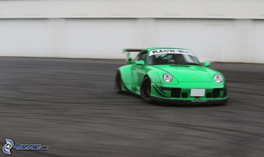 Porsche, sports car, drifting, speed
