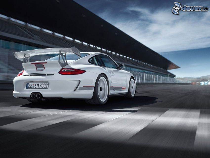Porsche 911, speed, tribune, racing circuit
