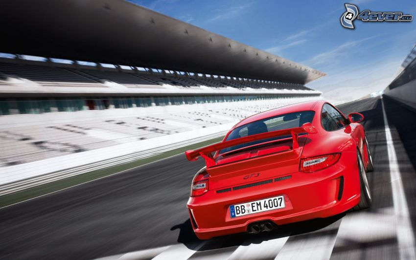 Porsche 911 GT3, speed, racing circuit, tribune
