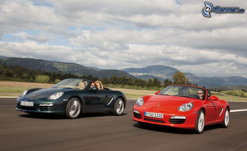 race, Porsche Boxster, convertible, speed