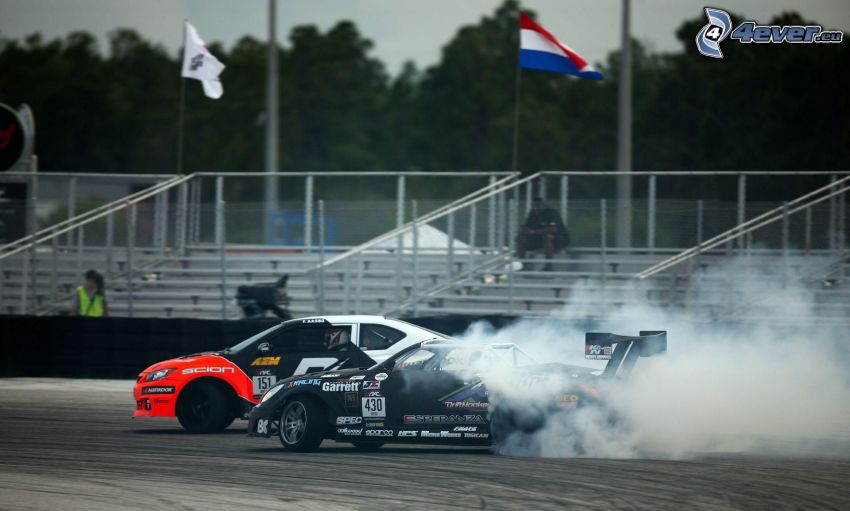 race, racing car, smoke, drifting, racing circuit, tribune, flag