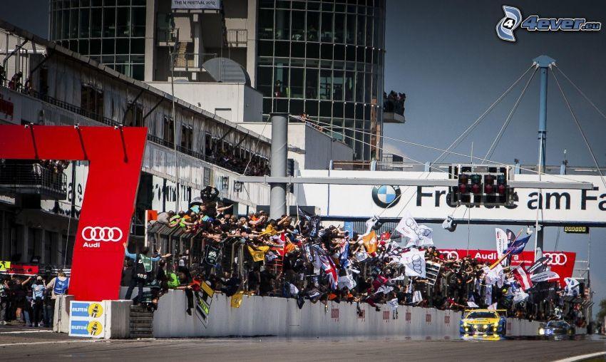 race, racing car, spectators, flags