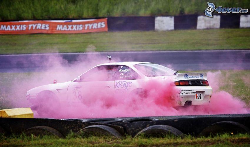 racing car, burnout, smoke