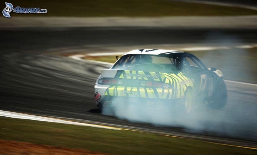 racing car, drifting, smoke, racing circuit
