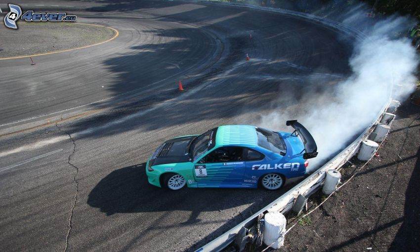 racing car, drifting, smoke, racing circuit