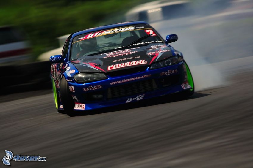 racing car, drifting, smoke
