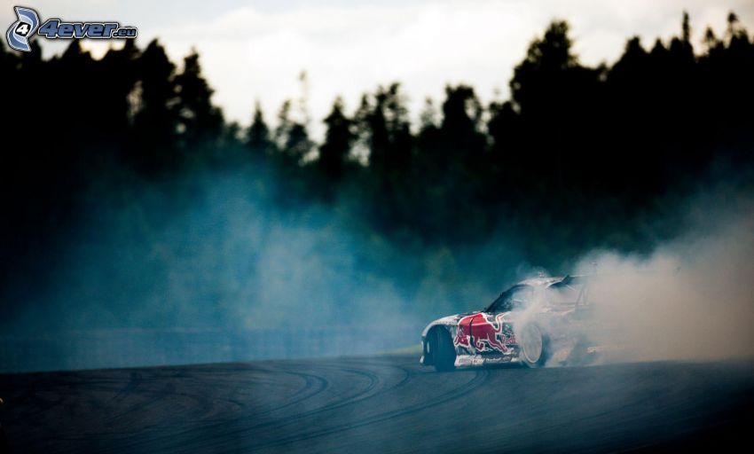 racing car, drifting, smoke