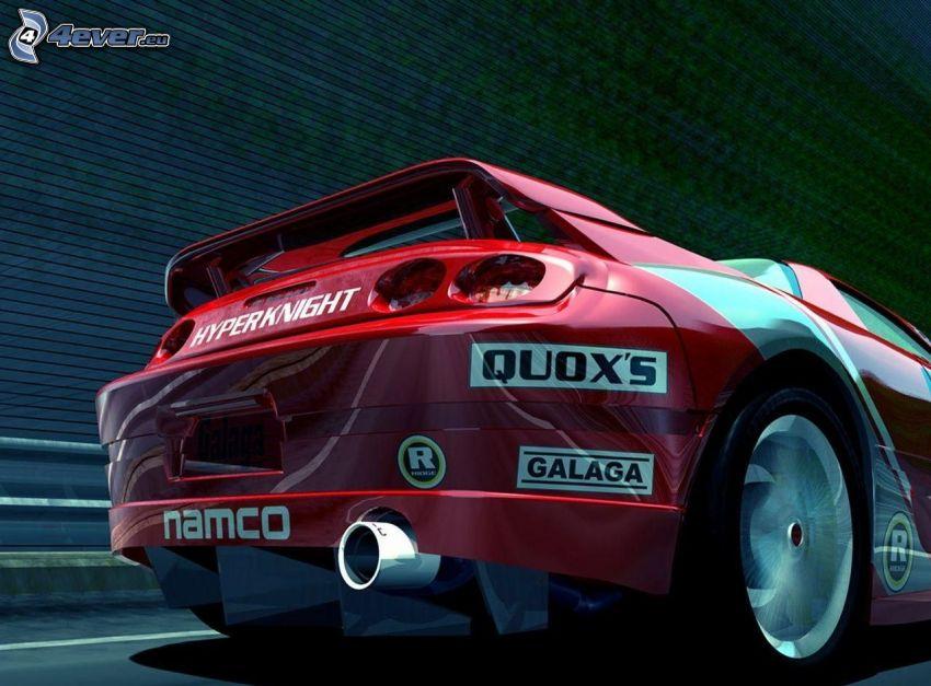racing car, exhaust