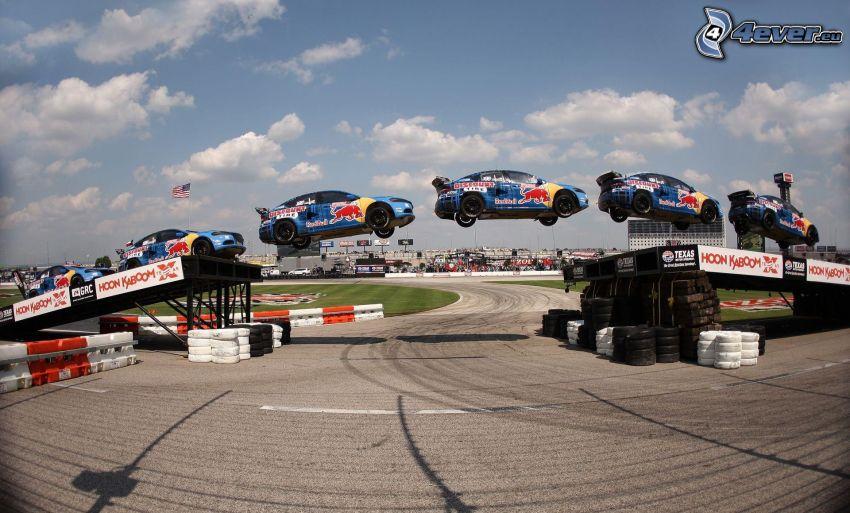 racing car, jump