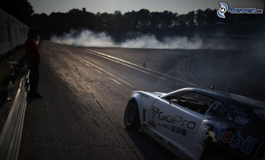 racing car, racing circuit, smoke, drifting