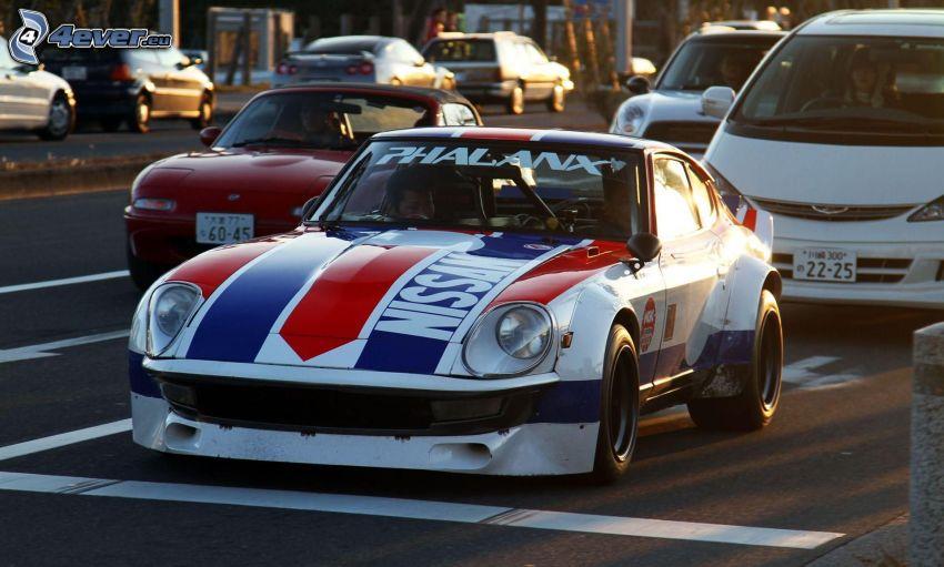 racing car, road, cars