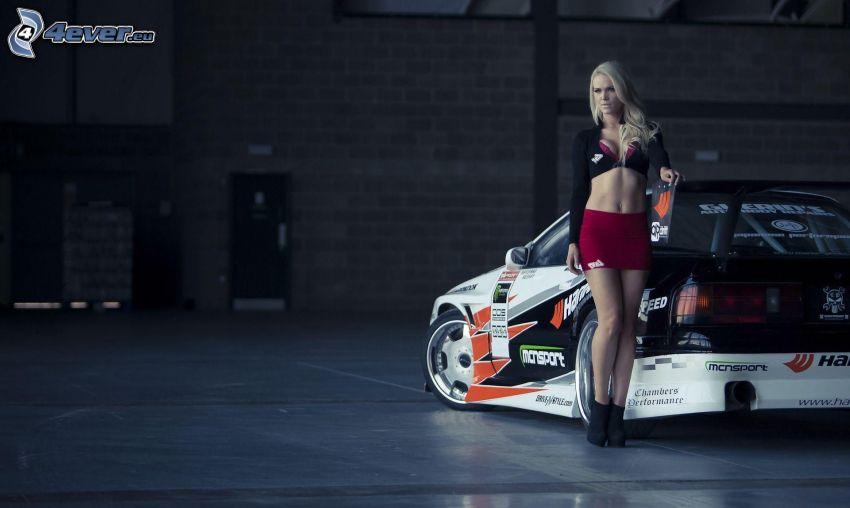 racing car, sexy blonde