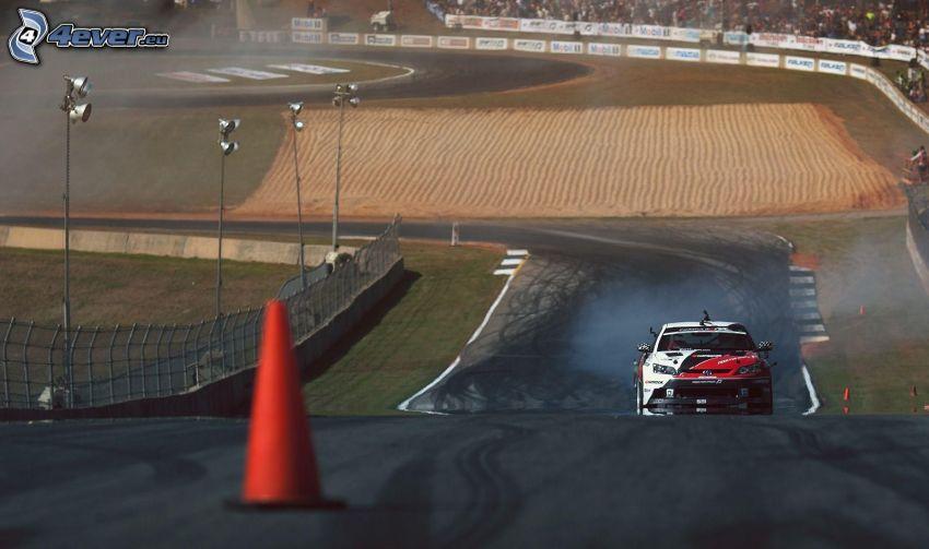 racing car, smoke, racing circuit