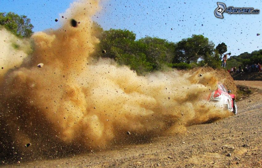 rally, dust, racing car, drifting
