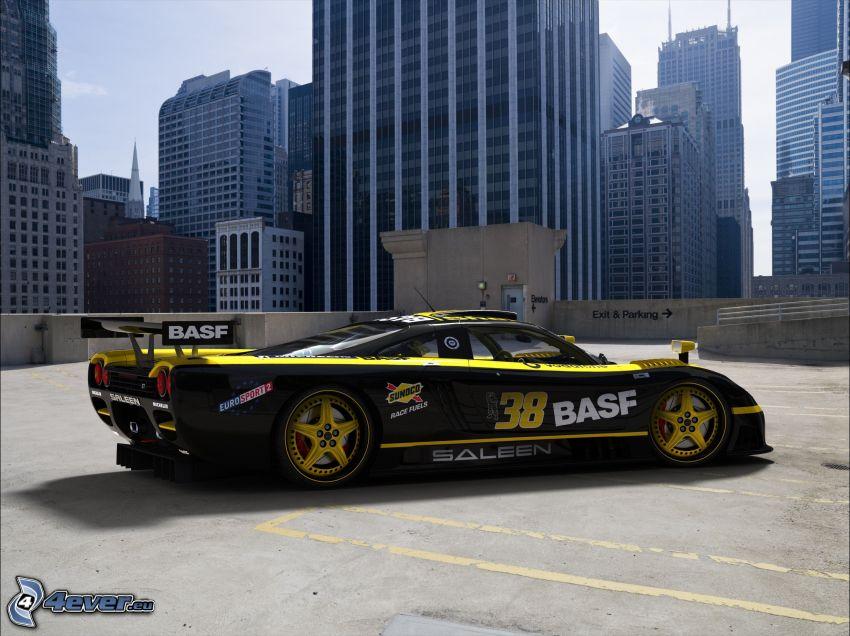 Saleen S7, skyscrapers, racing car