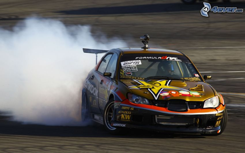 Seat, racing car, drifting, smoke