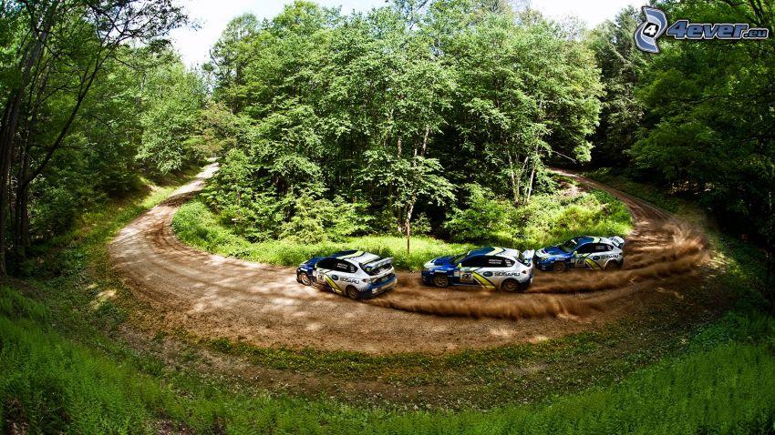 Subaru, drifting, race, nature