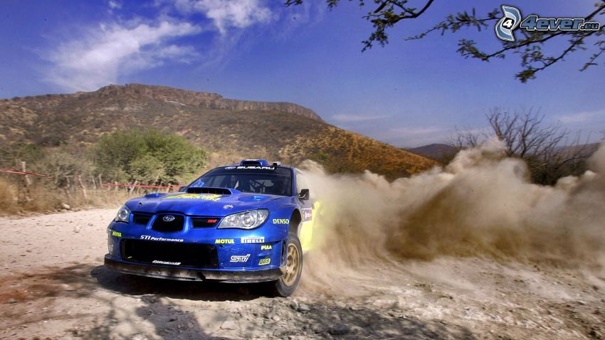 Subaru Impreza WRC, drifting, dust, hill, rally