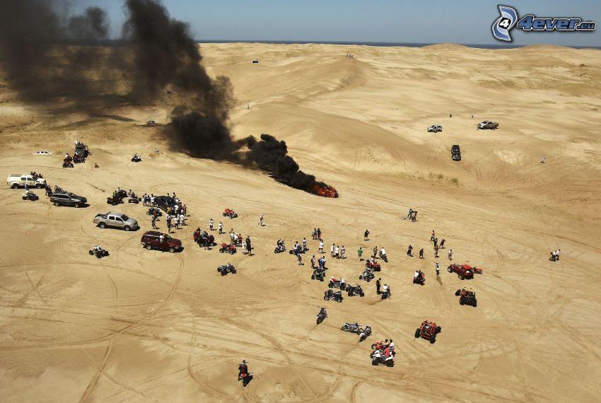 rally, smoke, cars, motorbikes, people