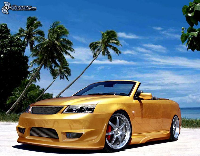 Saab, car, tuning, palm trees, beach