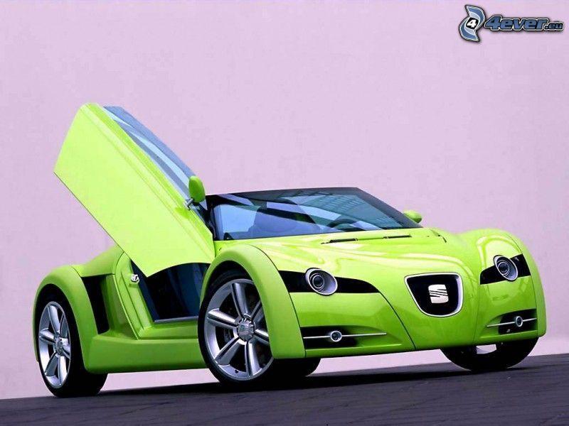 Seat, sports car, door, wheels, rims