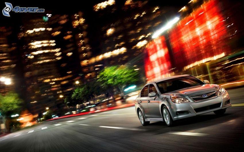 Subaru Legacy, speed, street, night