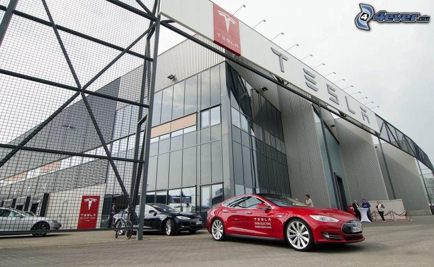 Tesla Model S, building, Tilburg