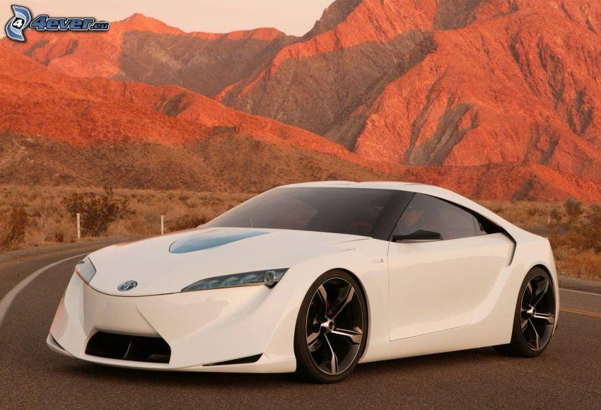 Toyota Supra, concept, road, mountains