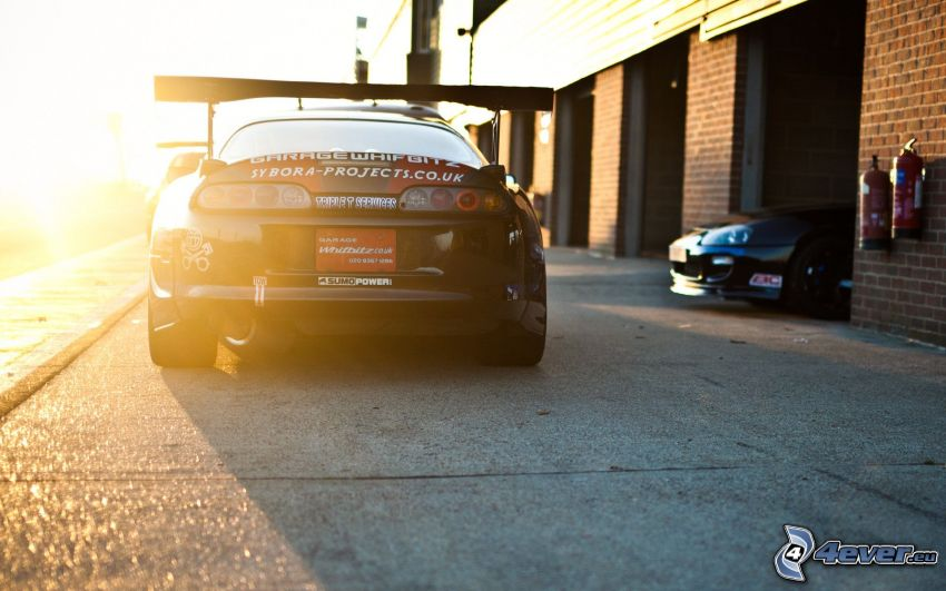 Toyota Supra, garage, sunbeams