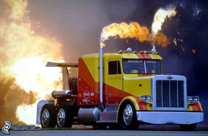american camion, truck, rocket, fire