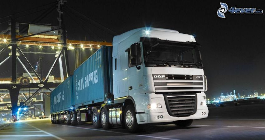 DAF XF 105, truck, containers, harbor, road, night