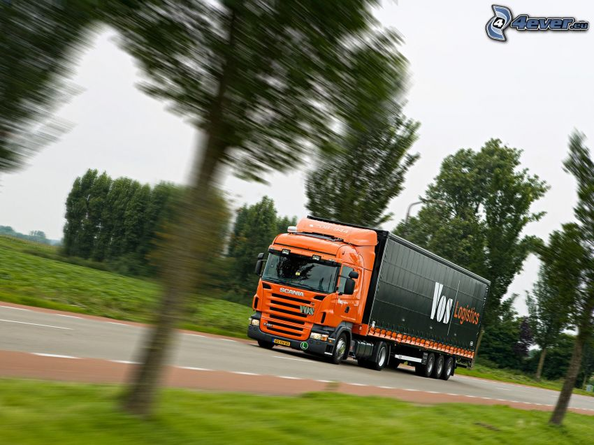 Scania, truck, speed, road