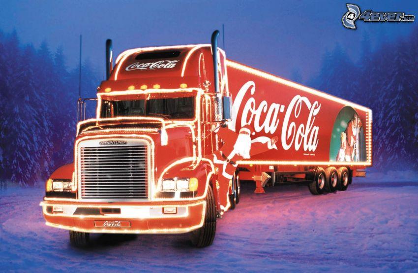 truck, Coca Cola, snow